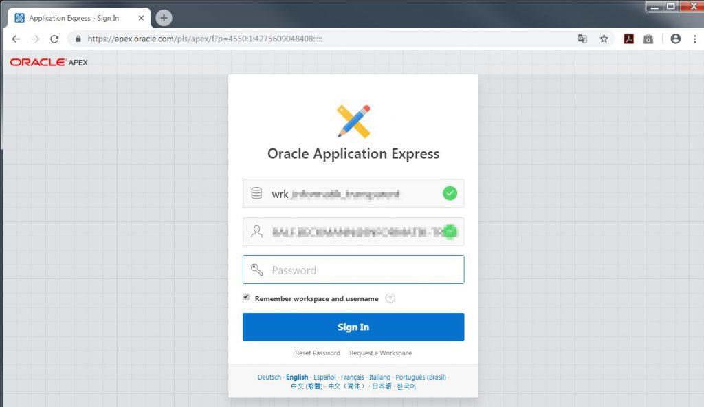 Abbildung 1: Anmeldung als APEX-Developer
