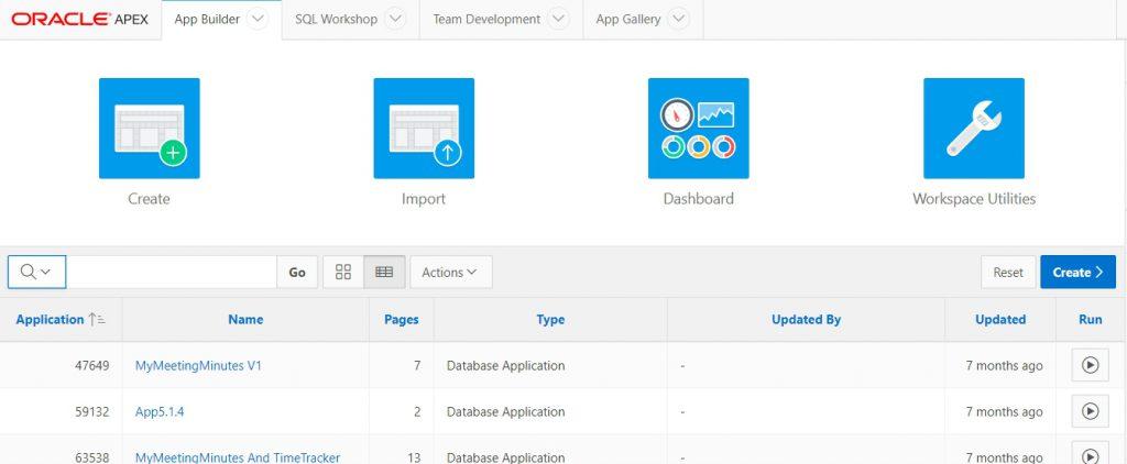 Abbildung 15: Anwendungsübersicht im Application Builder